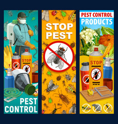 Pest control insects and exterminator banners vector
