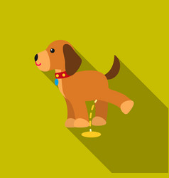 Pissing dog icon in flat style for web vector