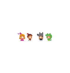 Pixel art characters vector