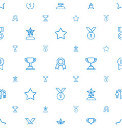 Prize icons pattern seamless white background vector