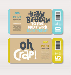 promotional coupon design template with hand drawn vector image
