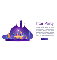Ramadan kareem iftar eating after fasting concept vector