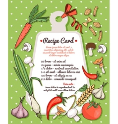 Recipe card with fresh vegetables and pasta vector