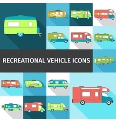 Recreational Vehicle Flat Icons vector image