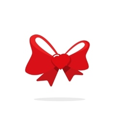 Red gift bow ribbon with heart vector