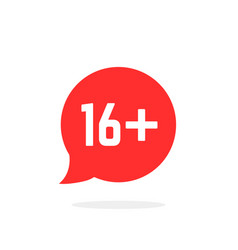 red speech bubble like 16 plus vector image