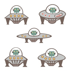 Robot characters in spaceship vector