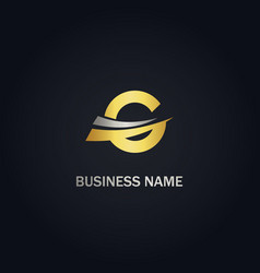 round shape g initial gold logo vector image