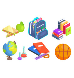 School supplies bag and books globe icons set vector