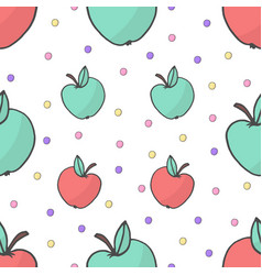 seamless cute colorful pattern with yellow and red vector image