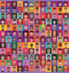 Set 144 men and women avatars in flat design vector