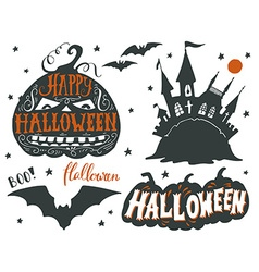 Set of Halloween symbols with hand lettering vector