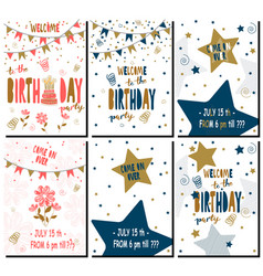 set of happy birthday party cards with lettering vector image