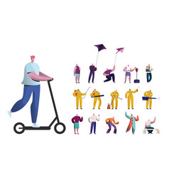 Set of male characters riding electric scooter vector