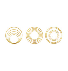 Set realistic 3d golden round frame isolated on vector