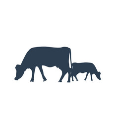 silhouette of two cows cow icon or symbol vector image