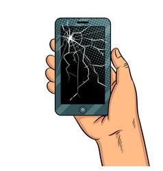 Smart phone and broken screen pop art vector