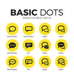 Speech bubble flat icons set vector