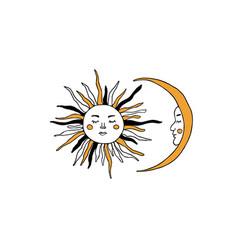 Sun and moon tarot major arcana symbols vector