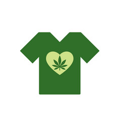 T-shirt with heart symbol and cannabis leaf inside vector