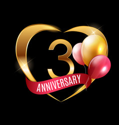 Template gold logo 3 years anniversary with ribbon vector