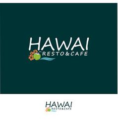 Template hawaiian cafe and restaurant logo vector