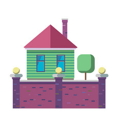 the exterior of the family house stylized in flat vector image
