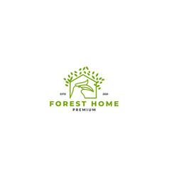 Tree forest hornbill head line logo design vector