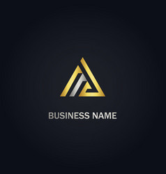 triangle line company gold logo vector image