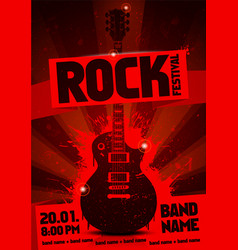 vintage grunge label concert poster with guitar vector image