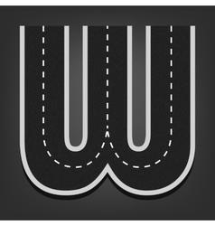 W letter road font vector