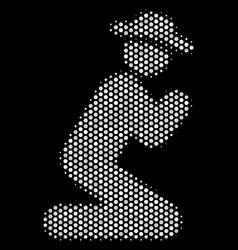 white pixel gentleman pray icon vector image