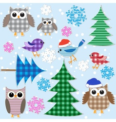 Winter owls vector
