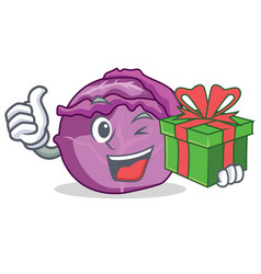 with gift red cabbage mascot cartoon vector image