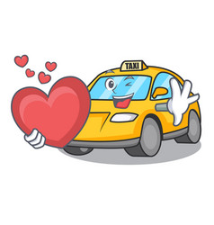 With heart taxi character mascot style vector