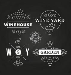 hipster wine logo or baners design on chalkboard vector image vector image