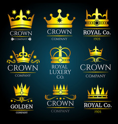 luxury crown vintage monogram logos set vector image vector image