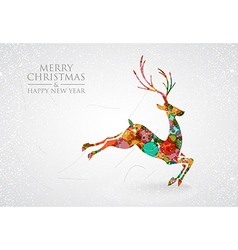 Merry Christmas colorful reindeer greeting card vector image
