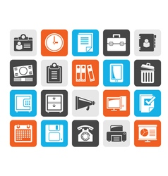 Silhouette Business and office supplies icons vector image vector image