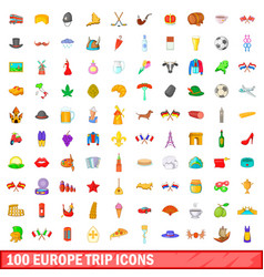 100 europe trip icons set cartoon style vector image vector image