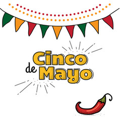 cinco de mayo logo hand drawn lettering and chili vector image