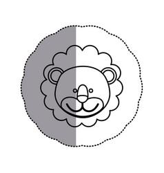 Contour face lion icon vector