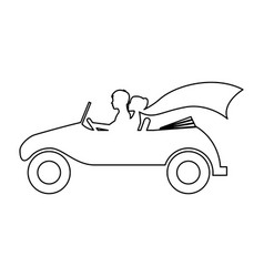 couple of newlyweds character in car vector image