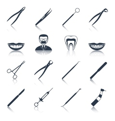 Dental instruments icons set black vector image vector image
