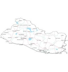 El Salvador Black White Map vector image