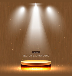 gold stage with spotlight wood background vector image vector image