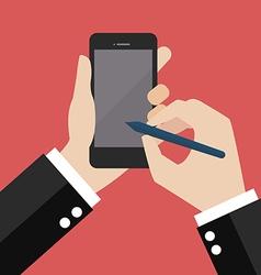 Hand writting on smartphone vector image