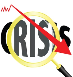 magnifying glass and crisis vector image
