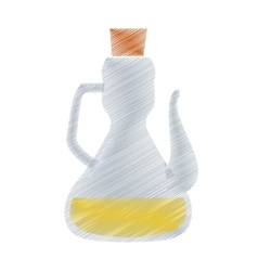 Olive oil bottle cork culinary drawing vector