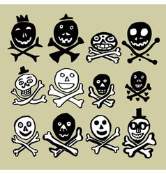 Primitive skulls inspired by naive art vector image vector image